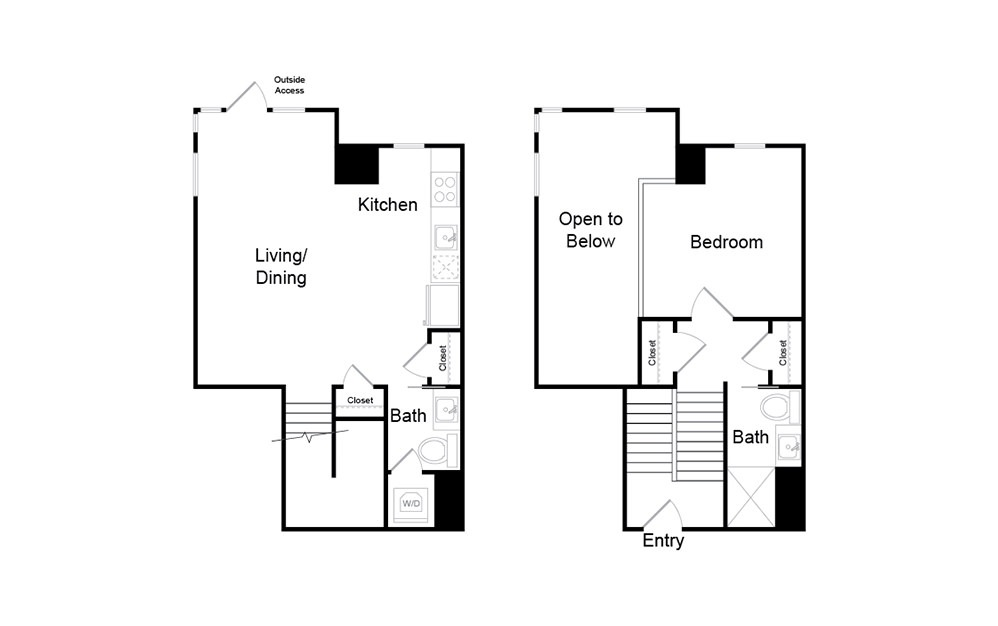 A22.TH - 1 bedroom floorplan layout with 1.5 bath and 732 square feet.