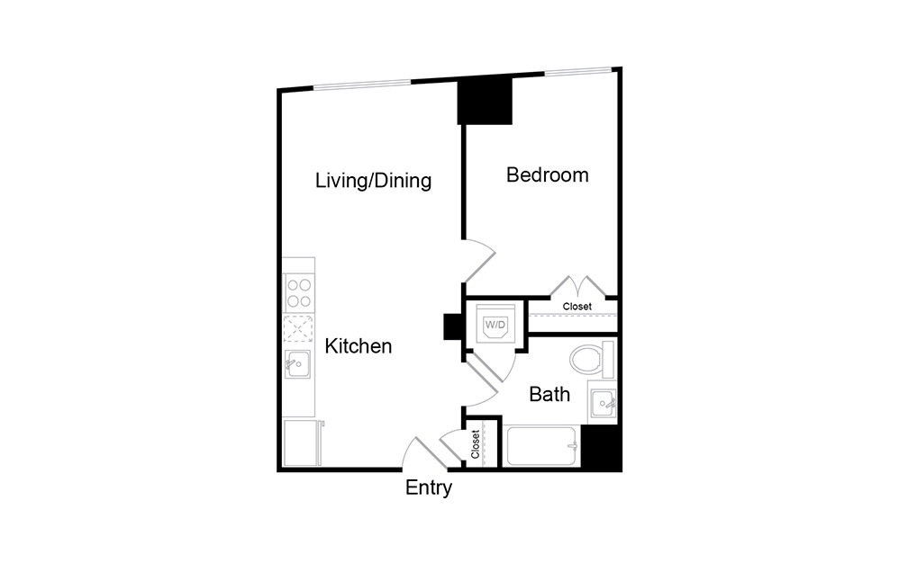 A2 - 1 bedroom floorplan layout with 1 bath and 588 square feet.