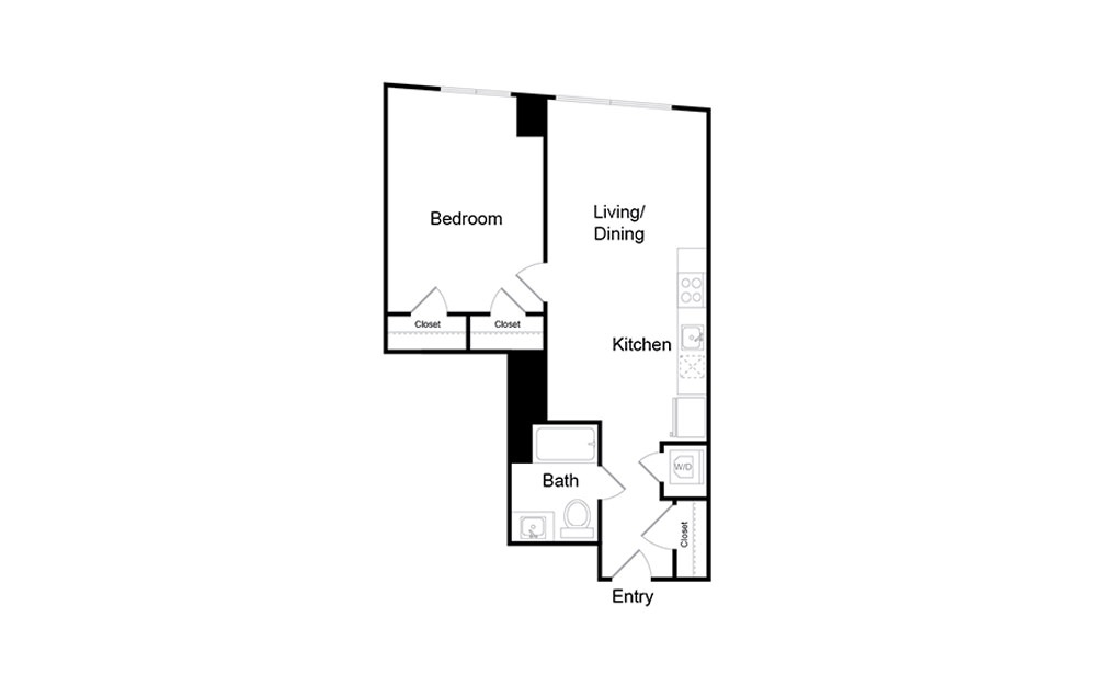 A6 - 1 bedroom floorplan layout with 1 bath and 640 square feet.