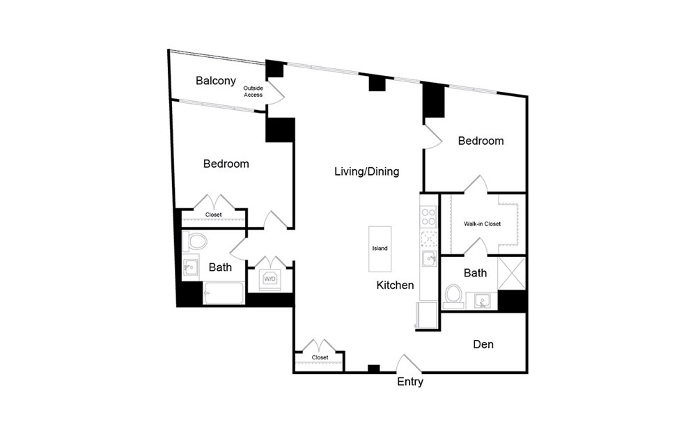 B10 - 2 bedroom floorplan layout with 2 baths and 1241 square feet.