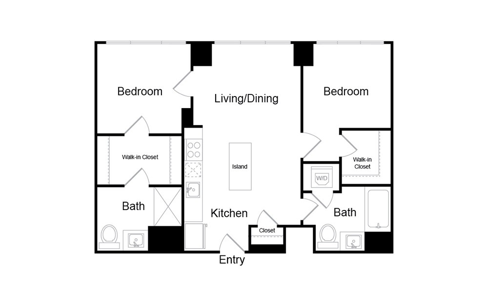 B14 - 2 bedroom floorplan layout with 2 baths and 828 square feet.