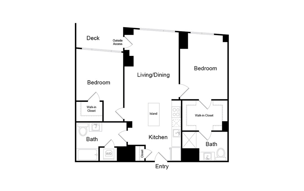 B1 - 2 bedroom floorplan layout with 2 baths and 1002 square feet.