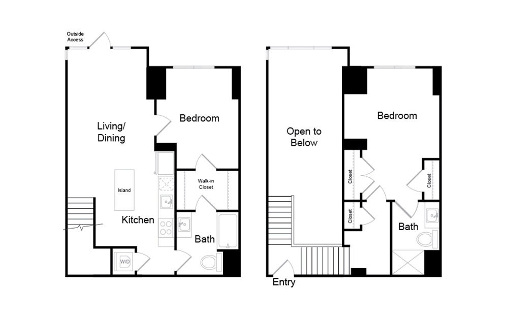 B27.TH - 2 bedroom floorplan layout with 2 baths and 1015 square feet.