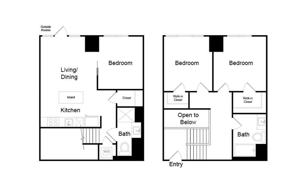 C6.TH - 3 bedroom floorplan layout with 2 baths and 1114 square feet.