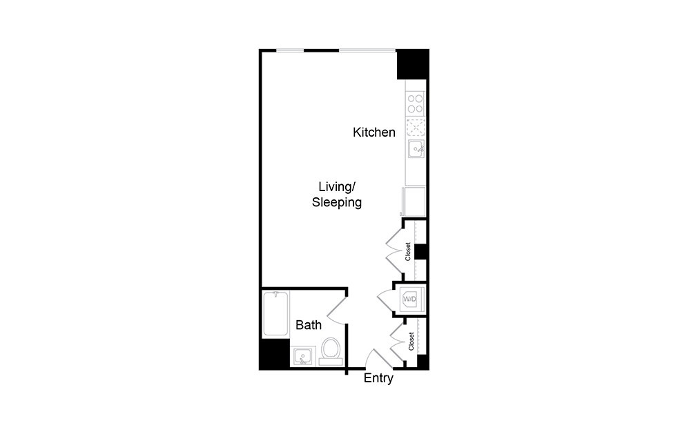 S16 - Studio floorplan layout with 1 bath and 559 square feet.