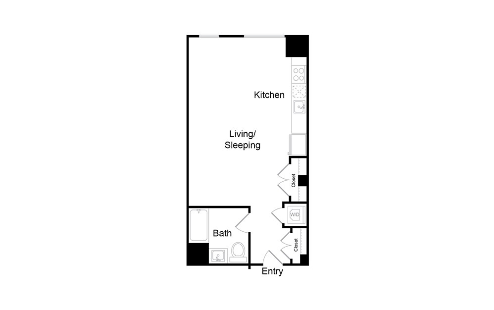 S18.HC - Studio floorplan layout with 1 bath and 559 square feet.