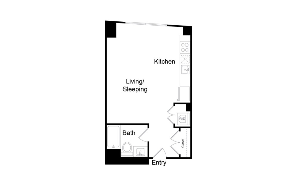 S7 - Studio floorplan layout with 1 bath and 487 square feet.